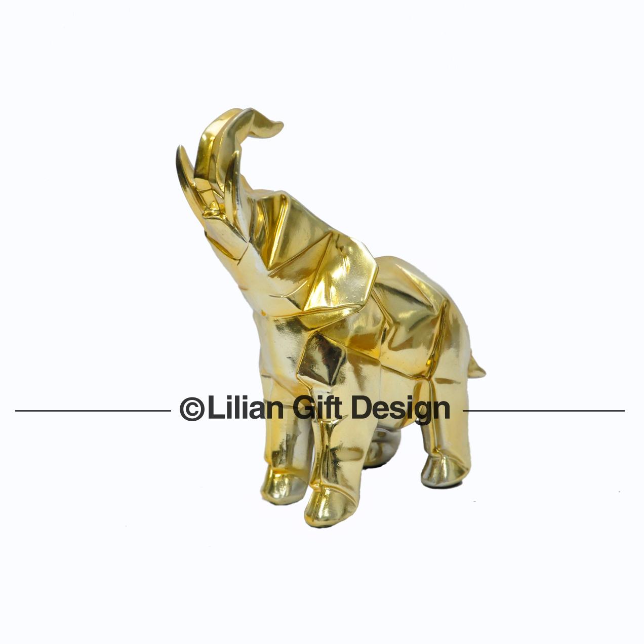 Elefante resina dourado 24 cm