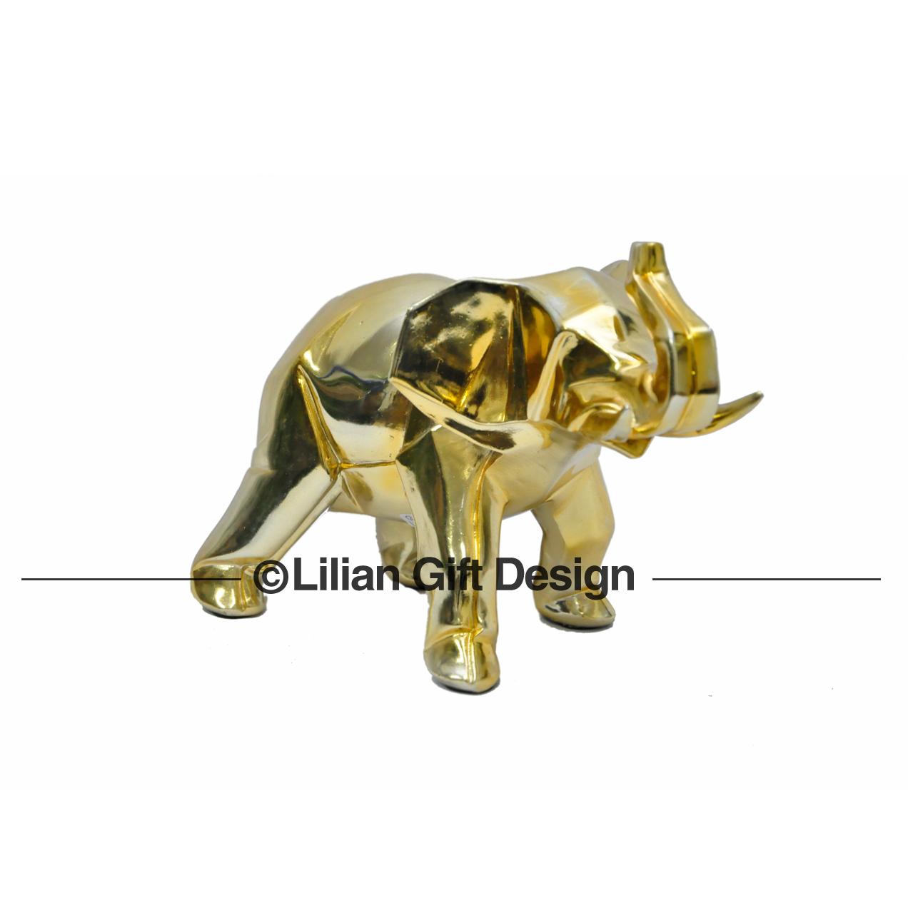 Elefante resina dourado 28.5cm