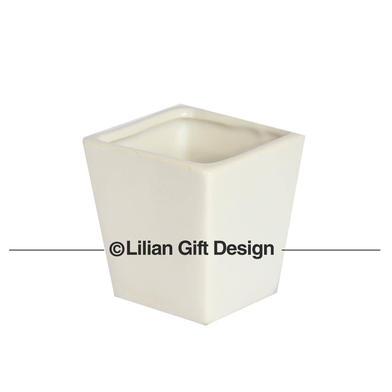 Vaso cerâmica branco 7x7cm