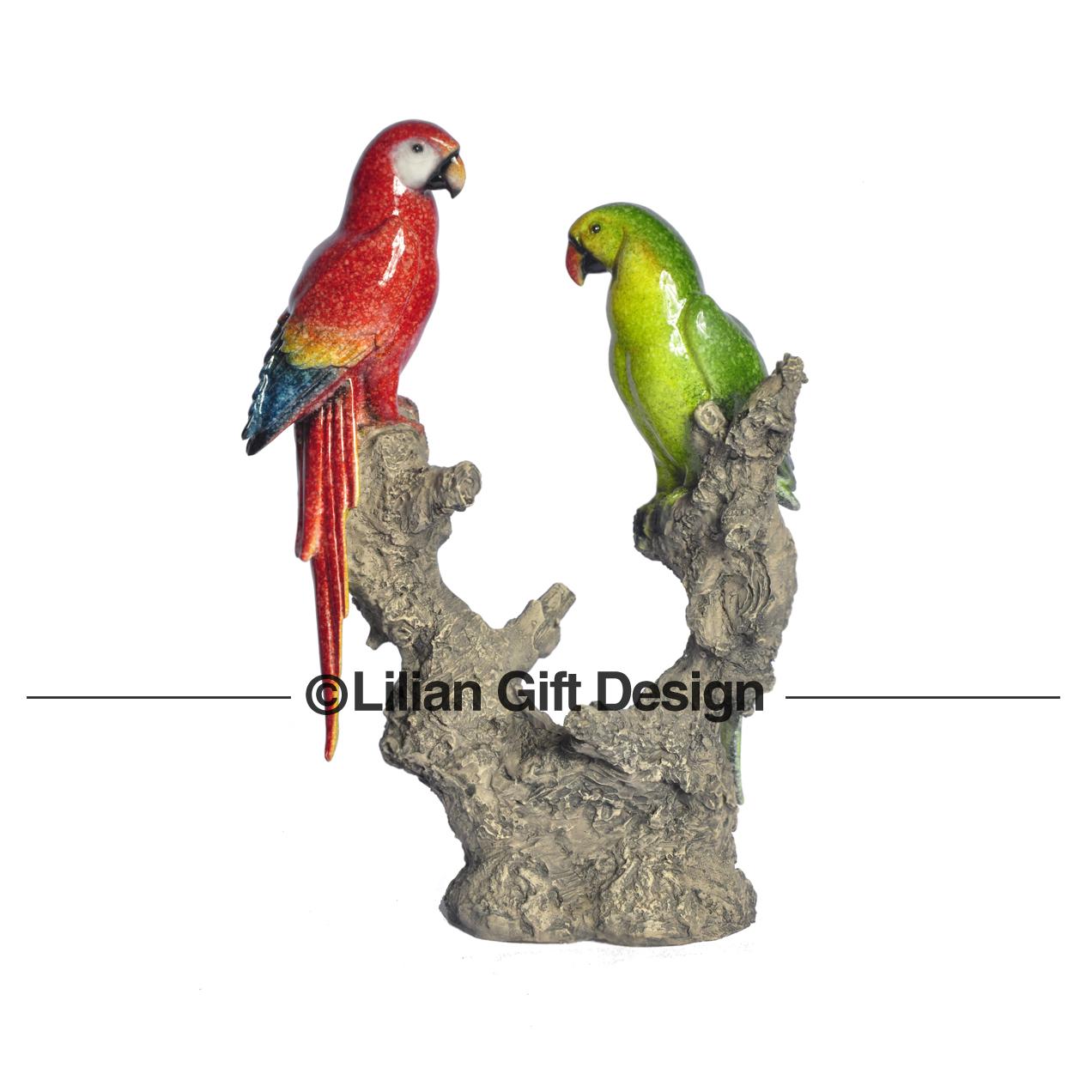 Enf. Resina arara e papagaio 30cm