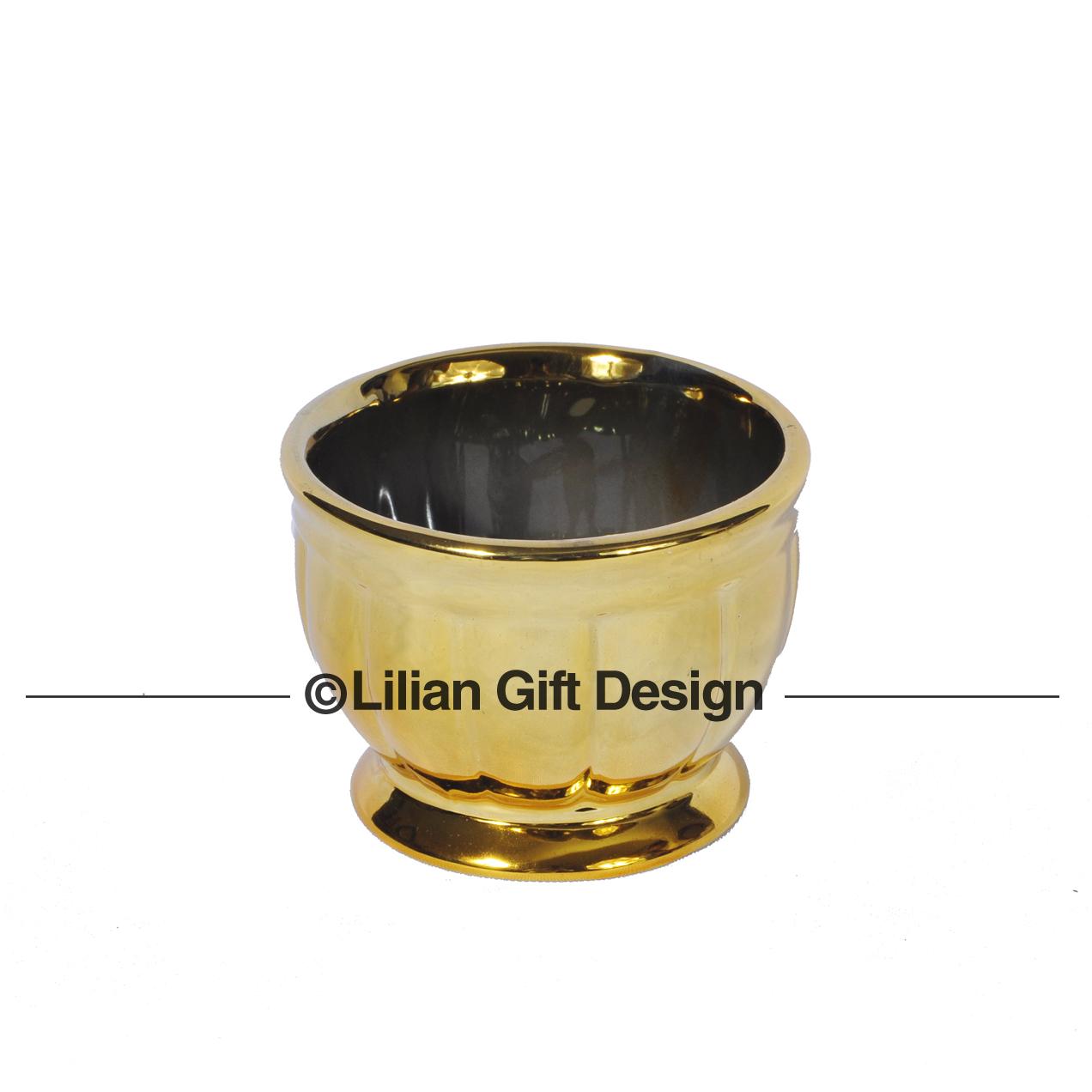 Vaso cerâmica dourado 8.5x6cm