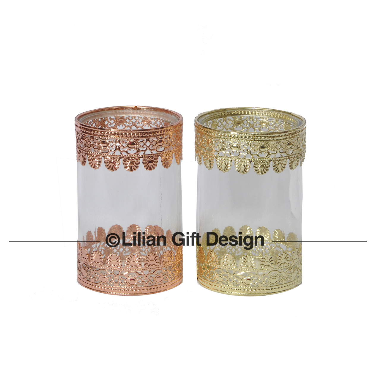 Castiçal vidro 2 cor base metal 10x14.5cm