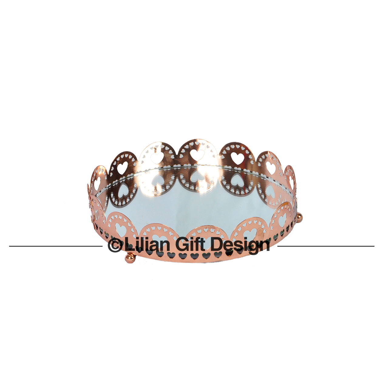Bandeja metal cobre coração m 18.5x3.5cm