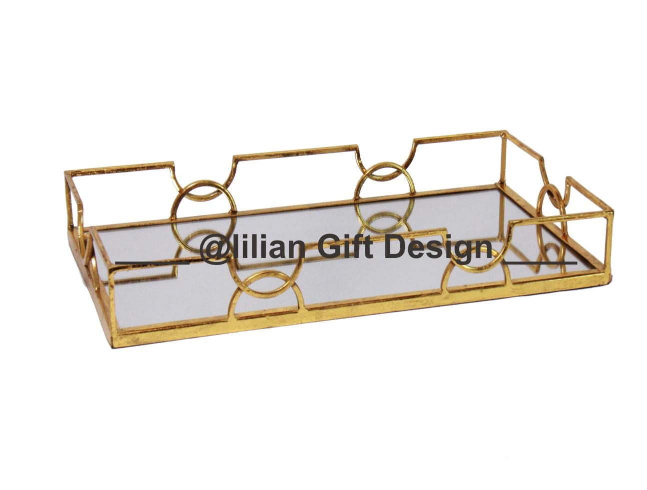 Bandeja metal retang. dourada 22,5x40x5 cm (cx04).