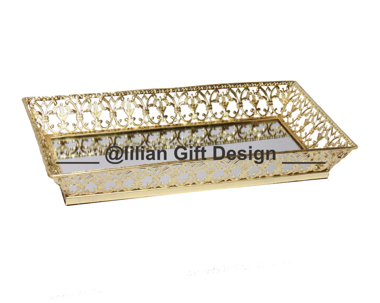 Bandeja metal ret. renda dourada 22,5x40x5 cm (cx04).