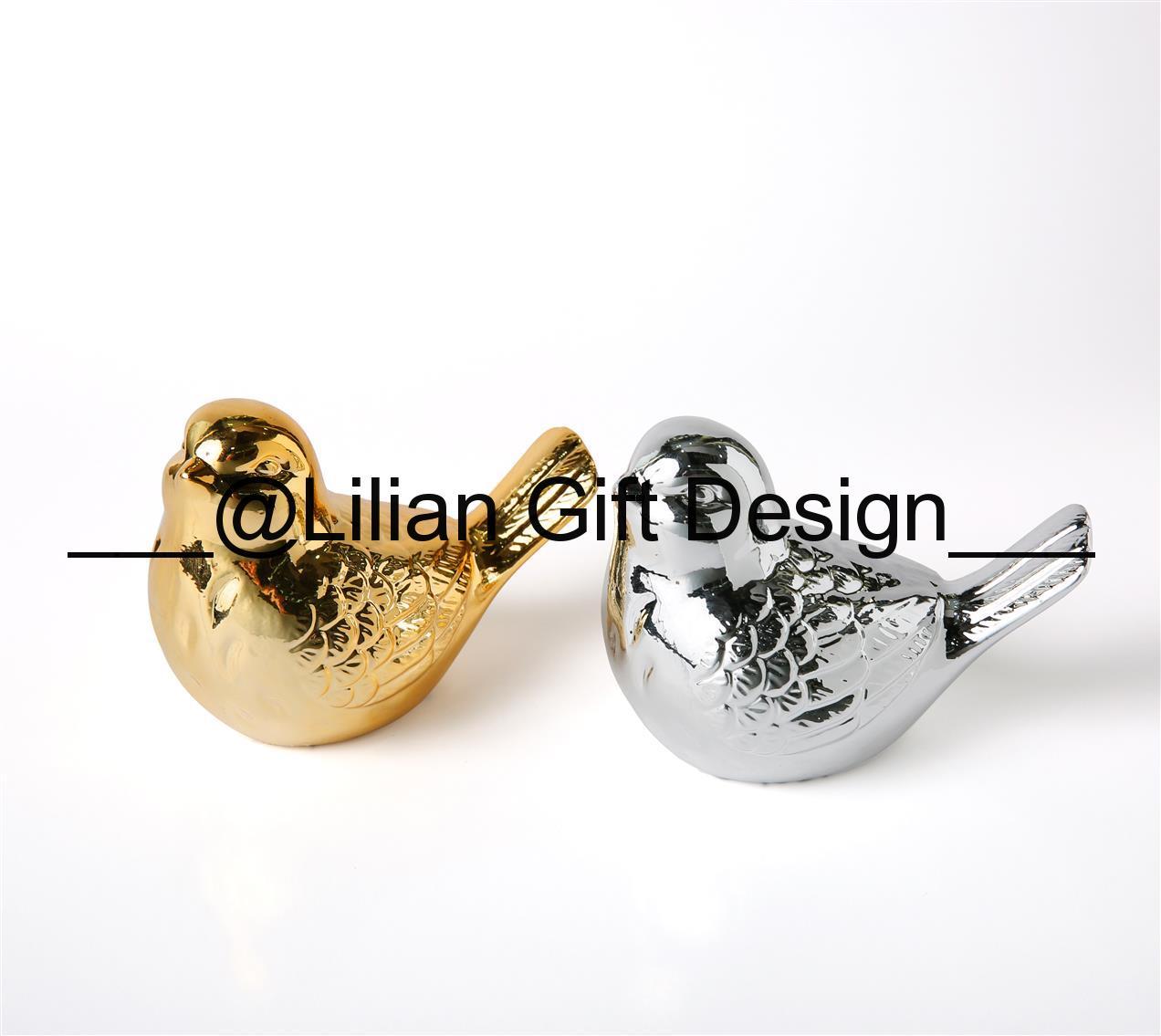 Pássaro cerâmica dourado e prata 11 cm (cx488).