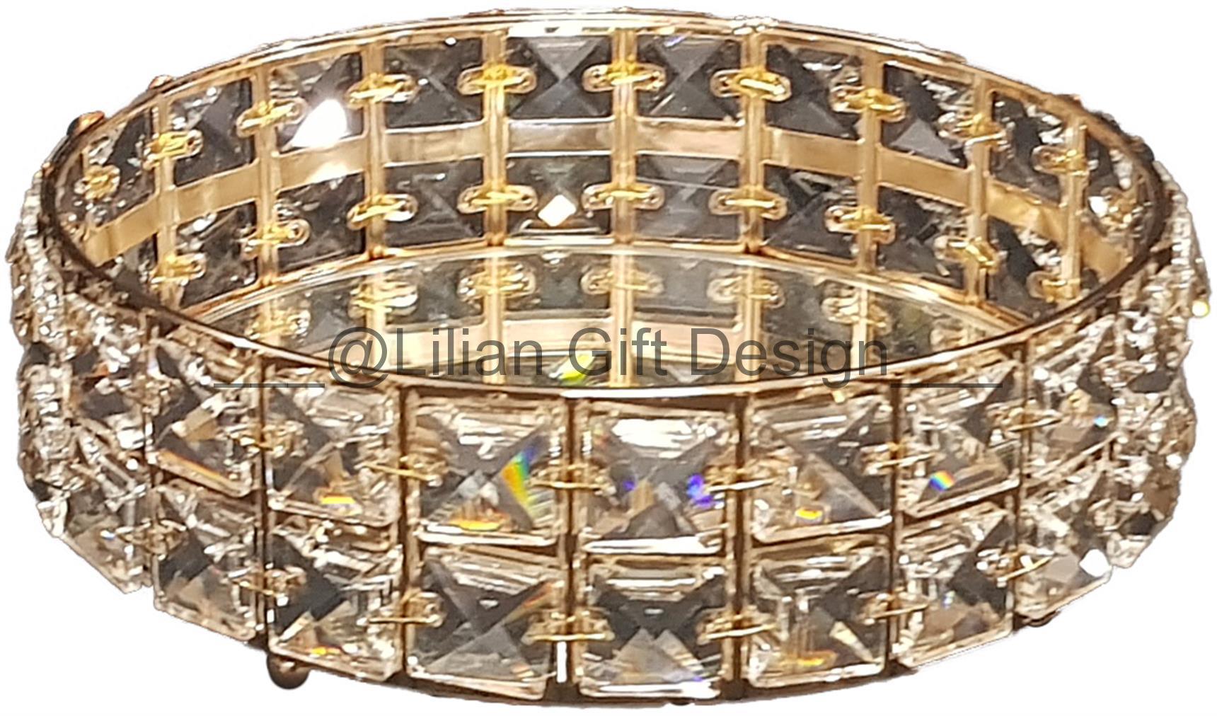 Bandeja decor. metal c/espelho 21 X 6,5 cm  DOURADA