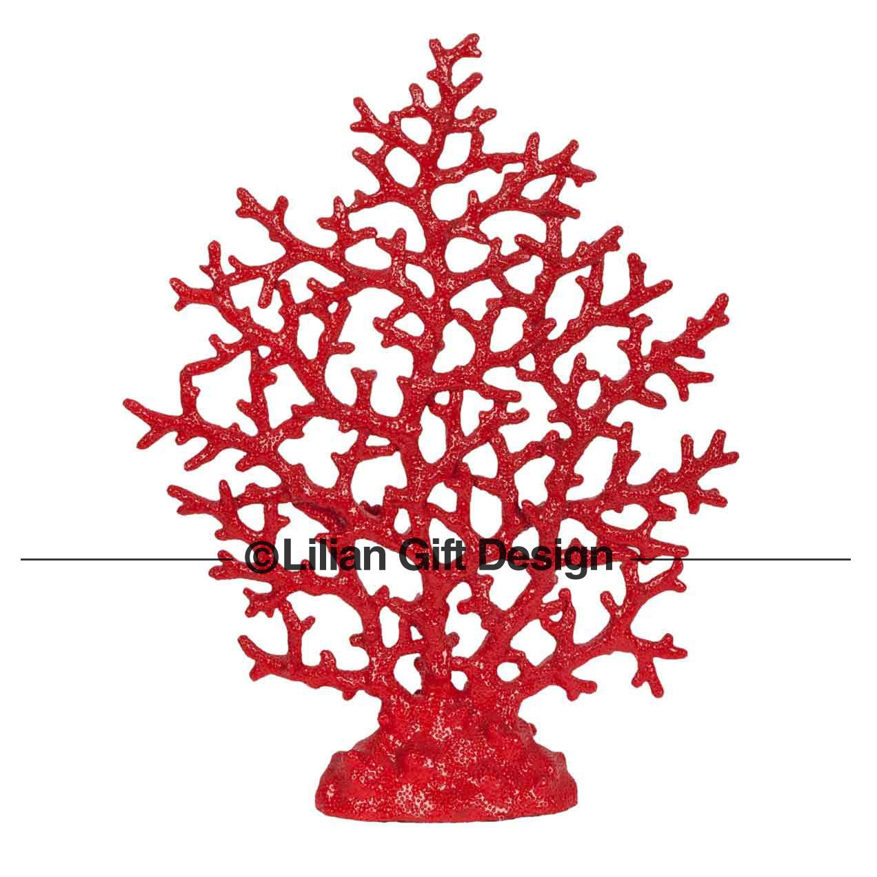 Árvore resina coral 35.5 cm cf1121018-a10